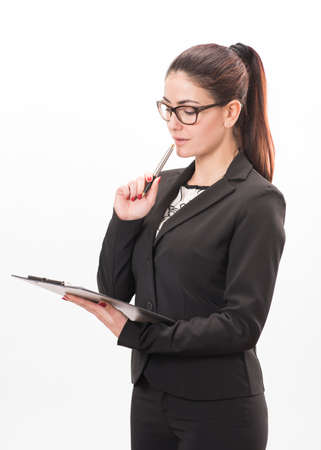 Young business woman with a folder
