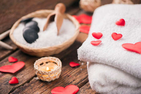 Wellness decoration with red heart Stock Photo