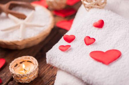 Wellness decoration with red heart Standard-Bild