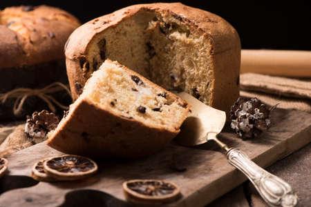 Panettone italian traditional christmas cake 写真素材