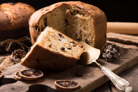 Panettone italian traditional christmas cake Foto de archivo