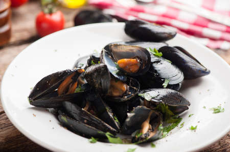Fresh mussels on a plate
