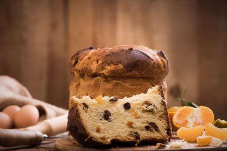 Italian Christmas cake. Home made Panettone Stock Photo - 89663641