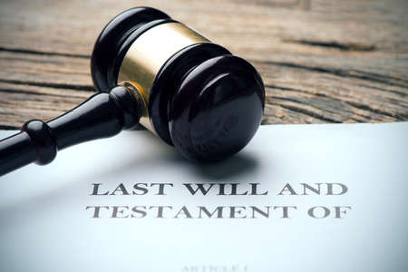 Last Will And Testament Document On Desk Stock Photo
