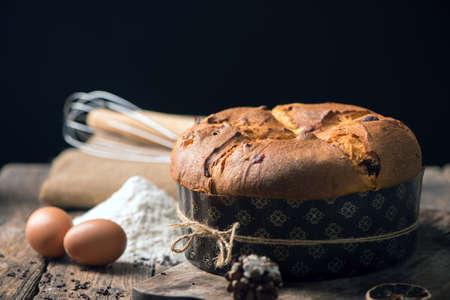 Panettone. Italian traditional Christmas cake 写真素材