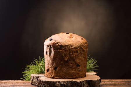 Homemade Panettone for Christmas. The traditional italian christmas cake Stock Photo - 90429823