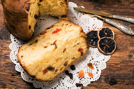 Panettone. Christmas Italian cake Stock Photo - 90740754