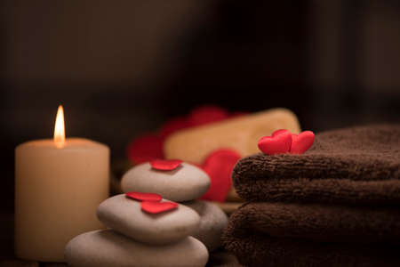 Wellness decoration on wooden table .Valentines Day concept