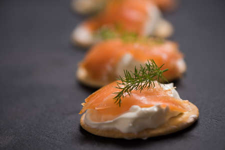 Smoked Salmon and soft chees canapes appetizers