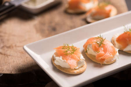 Smoked Salmon and soft chees canapes appetizers Stock Photo