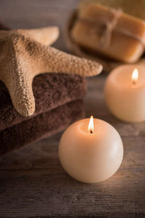 Composition of spa setting on a wooden table Stock Photo