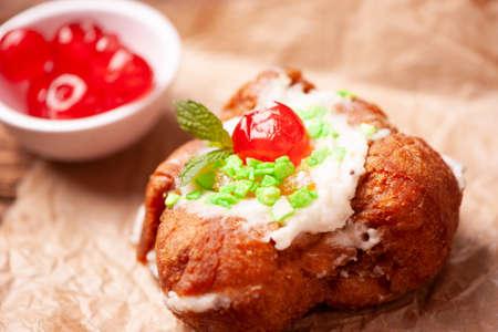 Sfincia di San Giuseppe, tipical sicilian pastry made with fresh ricotta Stock Photo