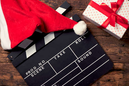 Christmas hat with film board cutout Stock Photo