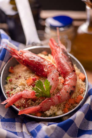 Fish couscous with prawns Stok Fotoğraf