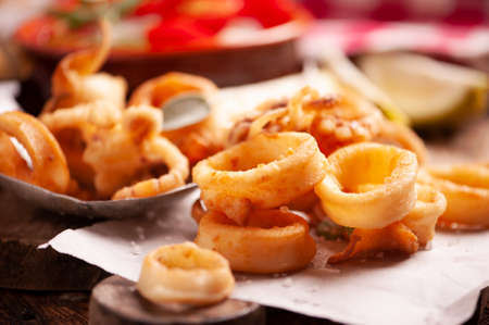 Traditional Italian fried calamari close up Imagens
