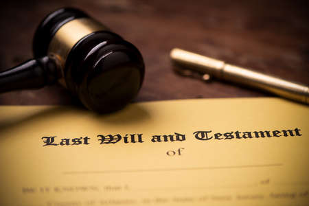 Last will and testament form with gavel. Decision, financial close up 免版税图像