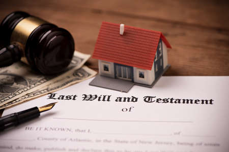 Last will and testament form with gavel. Decision, financial close up 스톡 콘텐츠