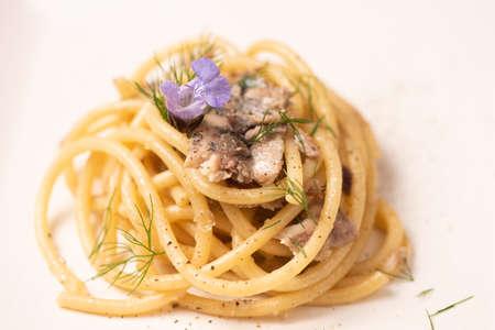Bucatini, Italian pasta with sardienes, close up