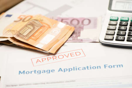 Approved mortgage loan agreement application Imagens