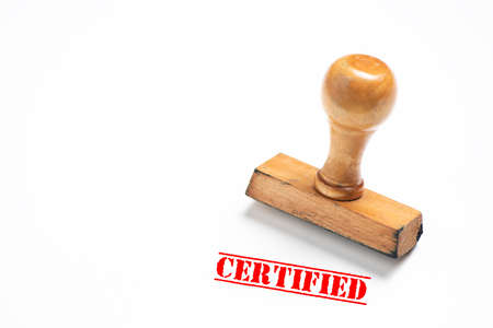 Rubber stamp with certified sign on white