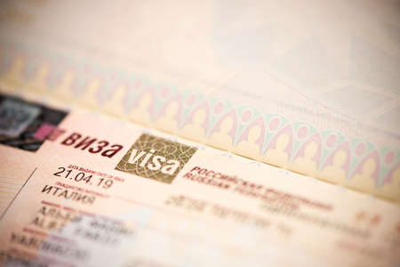 Close up of a fragment of a visa of the Russian Federation in the passport