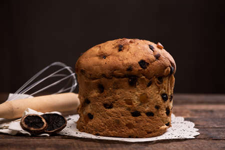 Panettone italian traditional christmas cake. Close up Stock Photo
