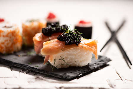 Shushi and black caviar close up Archivio Fotografico