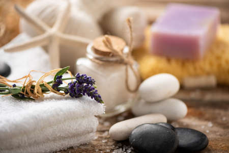 Spa still life with lavender salt and towels