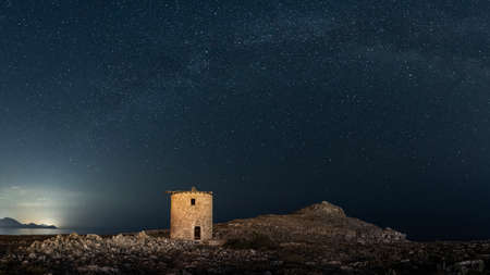 Kleoboulos near the Lindos Acropolis in Rhodes island in Greece at night