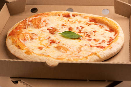Pizza menu, pizza margherita on box for take away or delivery