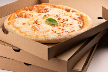 Pizza on box for take away or delivery