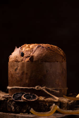 Panettone is the traditional Italian dessert for Christmas. Close up Stock Photo