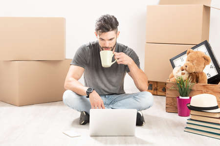 Man Moving alone to new apartment.