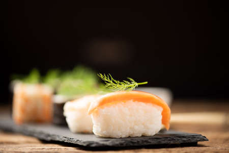 Traditional Japanese sushi on a plate close up