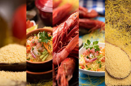 Collage of couscous fish with King Prawns close up