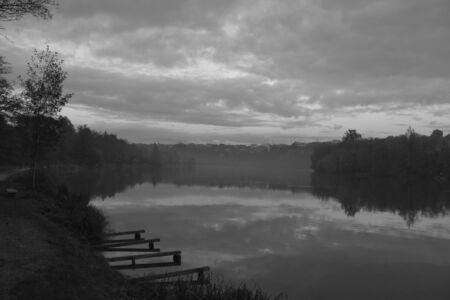 Foggy river at sunset, Trezzo sull Adda  MI Stock Photo - 16884869