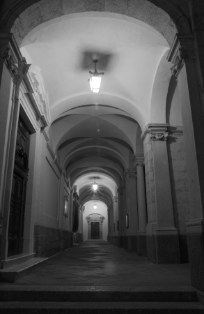 nave: The aisle of the church in Clusone  BG  by night