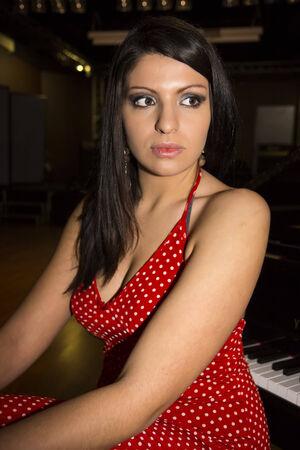 A typical mediterranean girl posing Stock Photo
