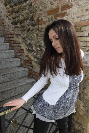 A lovely young model posing outdoor