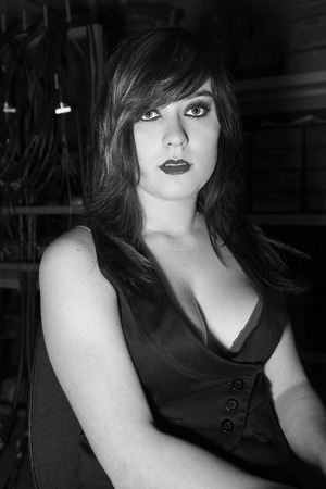 Very beautiful model with deep and bright eyes posing as goth