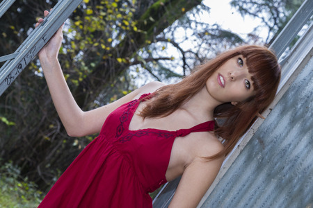 Stunning redhead model posing as Elf Queen