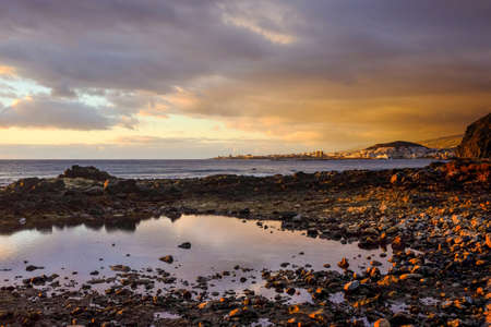 """the americas: Tenerife Spain -€"""" december 09 2014 -  sunset in Palm-Mar viewing Las Americas and Los Cristianos, Tenerife"""