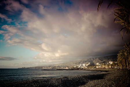 the americas: Las Americas Spain, December 09 2014: beach woth buildings and hotel