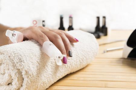 nailart: fantastic manicure in a modern beauty shop