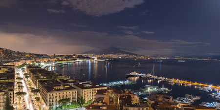view of the Bay of Naples at night