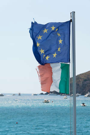 europe flag and Italian background with sea and sky