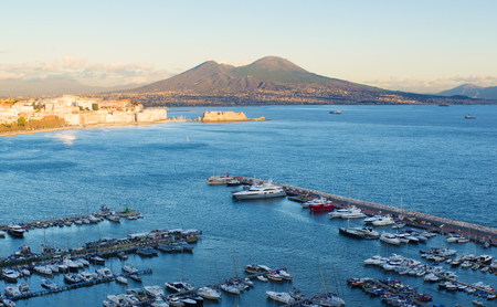 castel: view of the Bay of Naples with Vesuvius in the background