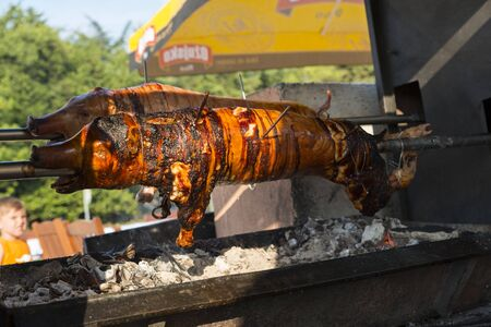 stinks: rotisserie with small pork cooked on the grill