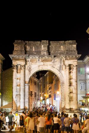 Roman arch in the center of Pula in Croatia