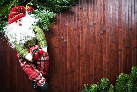 Christmas decorations on wooden planks Stock Photo
